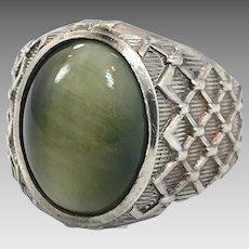 Cat's Eye Ring, Green Stone, Sterling Silver, Vintage Ring, Chrysoberyl, Designer, Joseph Esposito, Size 10, Mens Ring, Signet, Cigar Band