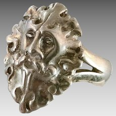 Green Man Ring, Sterling Silver, Vintage Ring, Size 9, Face Ring, Heavy Silver, Woodland Jewelry, Mens Ring, Unisex, Big, Wide, Ornate
