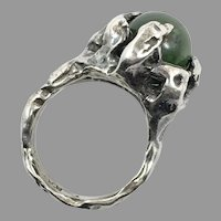 Jade Ring, Brutalist Ring, Sterling Silver, Size 5 1/2, Pinky Ring, Vintage Ring, Wax Cast, Unique, Green Stone, Unusual, OOAK, Odd, Rustic