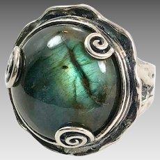Labradorite Ring, Sterling Silver, Vintage Ring, Size 7 1/2, Brutalist, Or Paz, PZ, Israel, Contemporary, Designer, Organic, Modern, Big