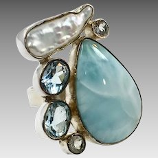 Larimar Ring, Blue Topaz, Sterling Silver, Aquamarine, Pearl, Vintage Ring, Adjustable, Big Stone, Multi Gemstone, Mixed, Dolphin Stone