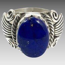 Lapis Ring, Lazuli Lazuli, Sterling Silver, Vintage Ring, Size 7 1/2, Boho, Blue Stone, Signet Ring, Big Stone
