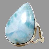 Larimar Ring, Blue Stone, Sterling Silver, Vintage Ring, Statement, Size 8 1/2, Teardrop, Dolphin Stone, Boho Statement, Bohemian, Modern