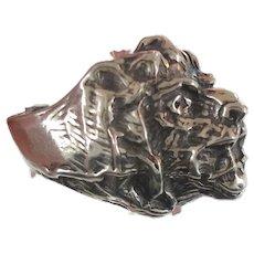 Lion Ring, Sterling Silver, Vintage Ring, Size 9, Big Statement, Heavy Silver, Leo Jungle Animal, Huge Large Massive, Unisex Mens Mans, Rocker Biker