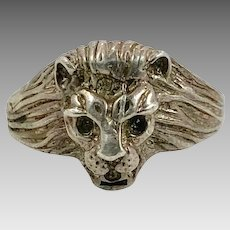 Lion Ring, Sterling Silver, Vintage Ring, Sterling Ring, Leo Jungle Animal, Size 9, Unisex, Mens, Rocker, Biker Jewelry