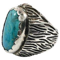 Turquoise Ring, Sterling Silver, Vintage Ring, Huge Stone, Size 10, Modern, Contemporary, Mens Ring, Mans, Big Statement, Large, Heavy