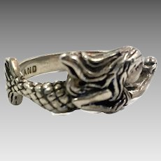 Mermaid Ring, Sterling Silver, Vintage Ring, Size 6, Ring Band, Beach Jewelry, Vintage Jewelry, 925 Ring