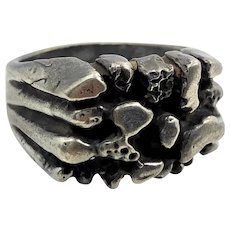 Brutalist Ring, Nugget, Sterling Silver, Vintage Ring, Size 9, Handcrafted, Modern, OOAK, Organic, Rustic