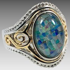 Opal Ring, Mosaic Opal, Sterling Silver, Vintage Ring, Size 6 1/2, Gold Wash, Large Stone, Blue Ring, Filagree Setting