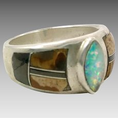 Opal Ring, Sterling Silver, Vintage Ring, Native American, Black Onyx, Brown Jasper, Inlaid, Inlay, Size 6 1/2, Ring Band, Mixed Stones