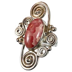Rhodocrosite Ring, Sterling Silver, Vintage Ring, Size 9 1/2, Pink Stone, Long, Wide, Big Statement, Large Stone, 925, Boho Jewelry