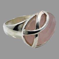 Rose Quartz Ring, Sterling Silver, Breast Cancer, Vintage Ring, Size 6, Big Stone, Pink Ring