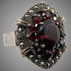 Garnet Ring, Marcasite, Sterling Silver, Vintage Ring, Size 6 1/2, Big, Gothic