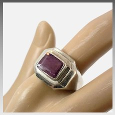 Ruby Ring, Sterling Silver, Vintage Ring, Men's Ring, Corundum, Size 10, Signet Style, Red Stone, Modern, Contemporary