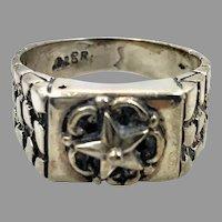 Star Ring, Nugget, Sterling Silver, Vintage Ring, Size 9, Brutalist, Modernist, Rustic, Organic, Mens