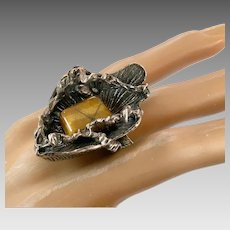 Tiger Eye Ring, Brutalist, Sterling Silver, Vintage Ring, Size 8, Wax Cast, Studio, 1970s, 70s, Artisan, Statement, Unique, Unusual, Big