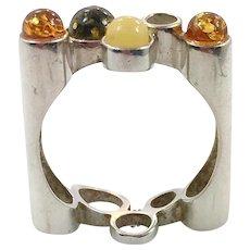 Amber Ring, Minimalist, Sterling Silver, Vintage, Tri-Color, Size 8, Modern, Unique, Unusual, Studio Designer, Green, Honey, Butterscotch