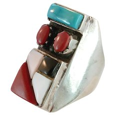 Turquoise Ring, Black Onyx, MOP, Red Coral, Inlay Inlaid, Sterling Silver, Vintage, Mens Mans, Native American, Statement, Size 10 3/4, Wide