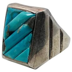 Turquoise Ring, Sterling Silver, Vintage Ring, Size7, Handcrafted, Inlaid Stone, Heavy