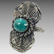 Turquoise Ring, Sterling Silver, Size 9 1/2, Vintage Ring, Woven, Wire Wrapped, Big Large, Oxidized, Statement, Unique, Unusual, Long