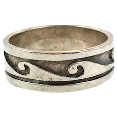 Wave Ring, Sterling Silver, Vintage Ring, Size 10 1/2, Ocean, Surfer, Thumb Ring, Unisex, Mens, Vintage Jewelry, Ring Band, Beach Jewelry