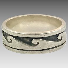 Wave Ring, Sterling Silver, Vintage Ring, Size 9, Ocean, Surfer, Unisex, Mens, Thumb Ring, Vintage Jewelry, Ring Band, Beach Jewelry