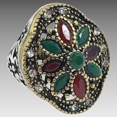 Turkish Ring, Brass, Red, Green, Vintage Ring, Ottoman, Glass Ruby Emerald, Size 8 1/2, Boho Statement, Ethnic Tribal, Red Green, CZs