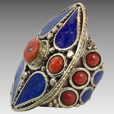 Tibetan Ring, Blue Lapis Ring, Nepal Jewelry, Statement, Massive, Tibetan Silver, Size 8, Red Glass, Big, Composite Stone, Bohemian, Ethnic