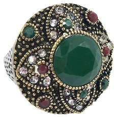 Turkish Ring, Brass Silver, Vintage Ring, Ottoman, Glass Ruby Emerald, Boho Statement, Size 9 1/4, Ethnic Tribal, Red Green, CZs, Turkey