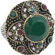 Turkish Ring, Brass Silver, Vintage Ring, Ottoman, Glass Ruby Emerald, Boho Statement, Size 6 1/2, Ethnic Tribal, Red Green, CZs, Turkey