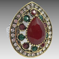 Turkish Ring, Brass, Vintage Ring, Ottoman, Glass Ruby Emerald, Size 8, Boho Statement, Ethnic Tribal, Red Green, Cubic Zirconia