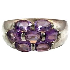 Amethyst Ring, Sterling Silver, Vintage Ring, Purple Ring, Size 11, February Birthstone