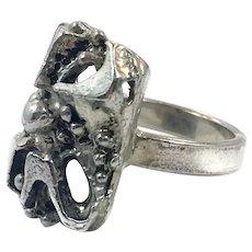 Big Brutalist Ring, Silver Metal, Vintage Ring, Adjustable, Size 9 1/2, Modernist, Rustic Organic, Wide, Large