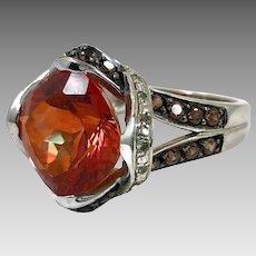 Orange Brown Ring, Sterling Silver, Vintage Ring, Smokey Quartz, Faux Orange Garnet, Smoky, Statement Ring, Size 8 1/2