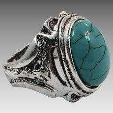 Afghan Ring, Kuchi Ring, Vintage Ring, Size 8, Turquoise Glass, Faux Turquoise, Signet Style, Mens Mans, Unisex, Big, Statement Ring