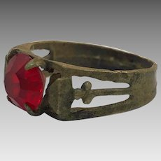 Afghan Ring, Red Glass Ring, Size 7 1/2, Kuchi Ring, Vintage Jewelry, Middle Eastern, Old Ethnic, Gypsy Tribal