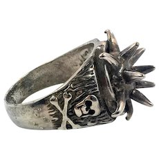 Skull Ring, Vintage Ring, Gothic Jewelry, Pirate Ring, Size 12, Cross Bones, Silver, Spiked, G&S, Biker Jewelry, Mens Ring, Statement, Big