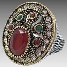 Turkish Ring, Brass, Vintage Ring, Ottoman, Glass Ruby Emerald, Size 8, Boho Statement, Ethnic Tribal, Red Green, Cubic Zirconia, CZs