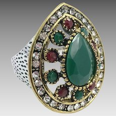 Turkish Ring, Brass, Vintage Ring, Ottoman, Glass Ruby Emerald, Size 9, Boho Statement, Ethnic Tribal, Red Green, Cubic Zirconia, CZs