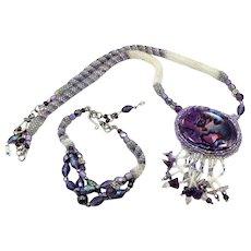 Purple Necklace, Purple Bracelet, Vintage Set, Amethyst, Woven Beads, Purple Shell, Hematite, Beaded, Boho Jewelry, Festival Jewelry