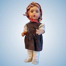 """Vintage Goebel/MJ Hummel """"Gretl"""" Doll, Original Clothing Vinyl 11"""""""