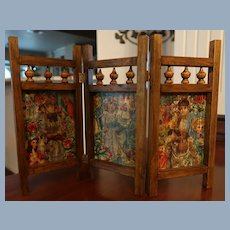 Miniature Antique Doll Scrap Screen