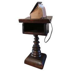 Antique Oak Lectern With Leather Bound Bible & Magnifying Glass Dtd. 1919