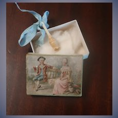 Fabulous Antique Miniature Vinaigrette For FF Or European Doll Litho Box