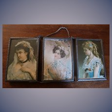 Rare Unusual Sized Miniature Tri-fold Mirror Three Ladies Marked Germany