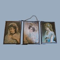 Rare Unusual Sized Miniature Tri-fold Mirror Three Ladies Marked Germany