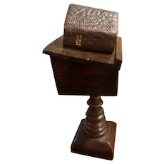 Antique Oak Lectern With Leather Bound Bible & Magnifying Glass Patent dtd 1919