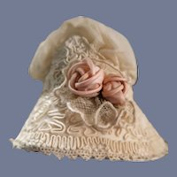 Perfect Little Ecru Bonnet For Your Special Baby Doll