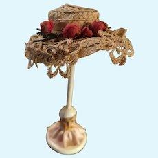 Vintage Doll Straw Hat Rose Buds