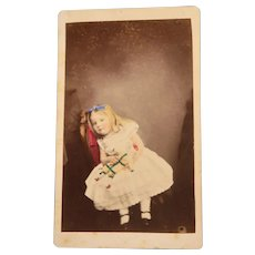 Adorable Portrait CDV Of A Young child/girl holding Onto A Pierrot French Clown Doll Rare Tinted